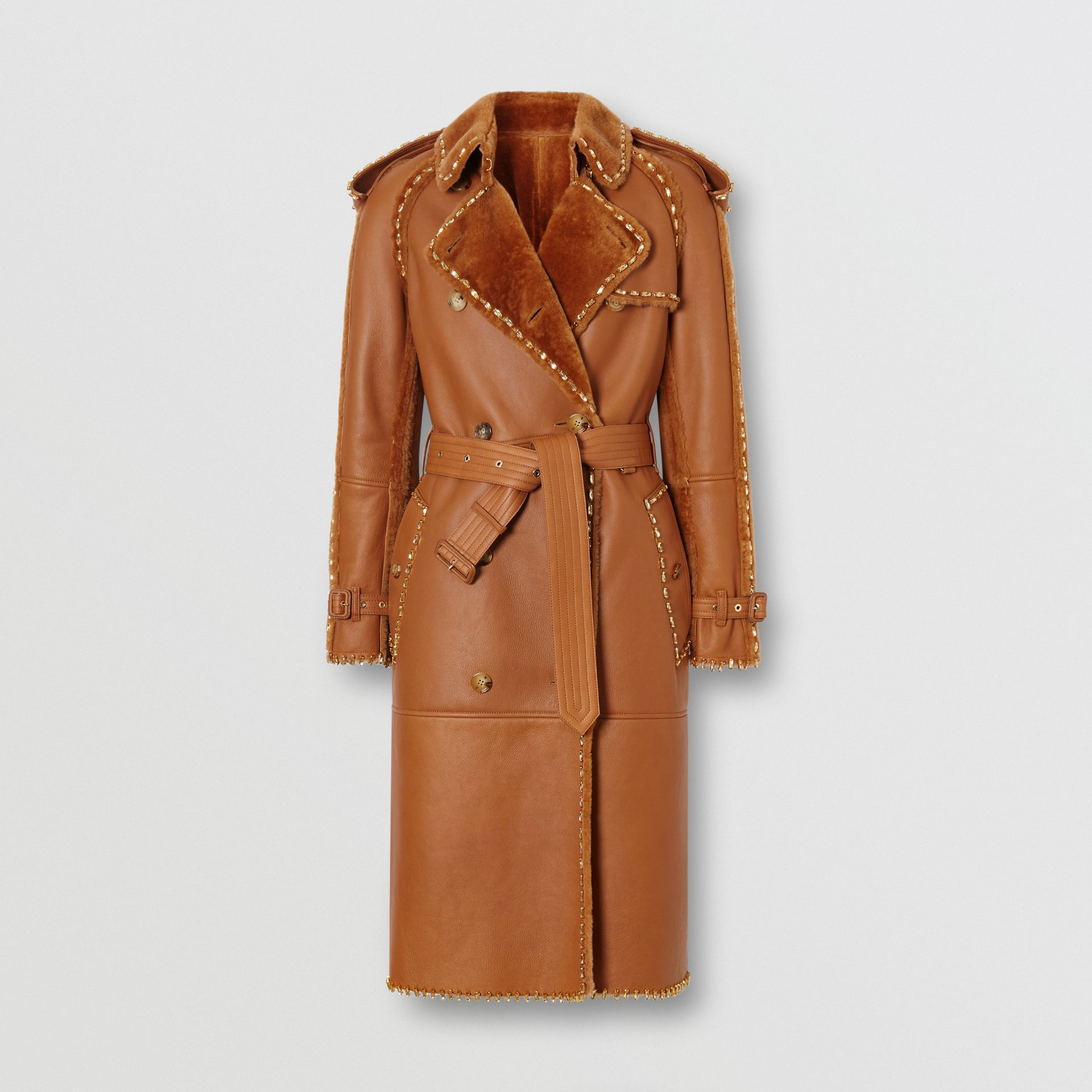 Embellished Shearling Trench Coat in Warm Camel - Women | Burberry - gallery image 3