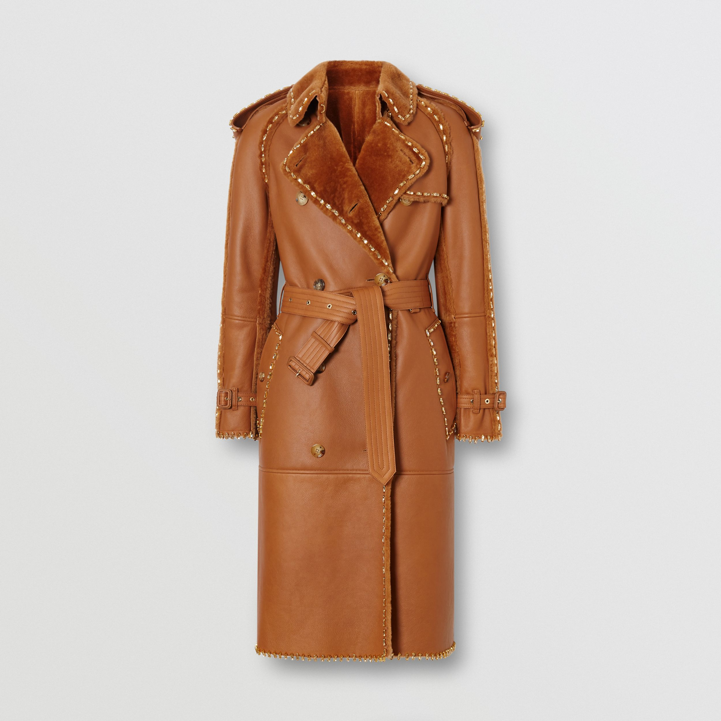 Embellished Shearling Trench Coat in Warm Camel - Women | Burberry Australia - 4