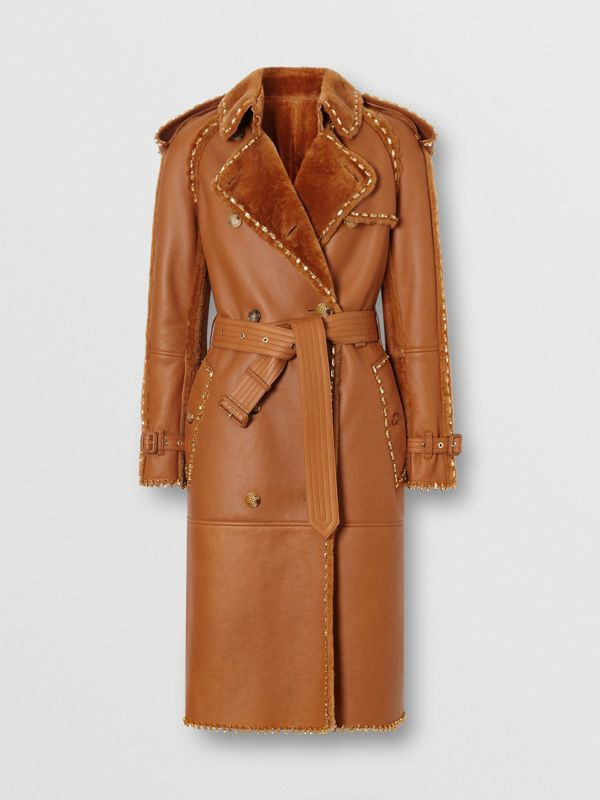 Embellished Shearling Trench Coat in Warm Camel - Women | Burberry - cell image 3