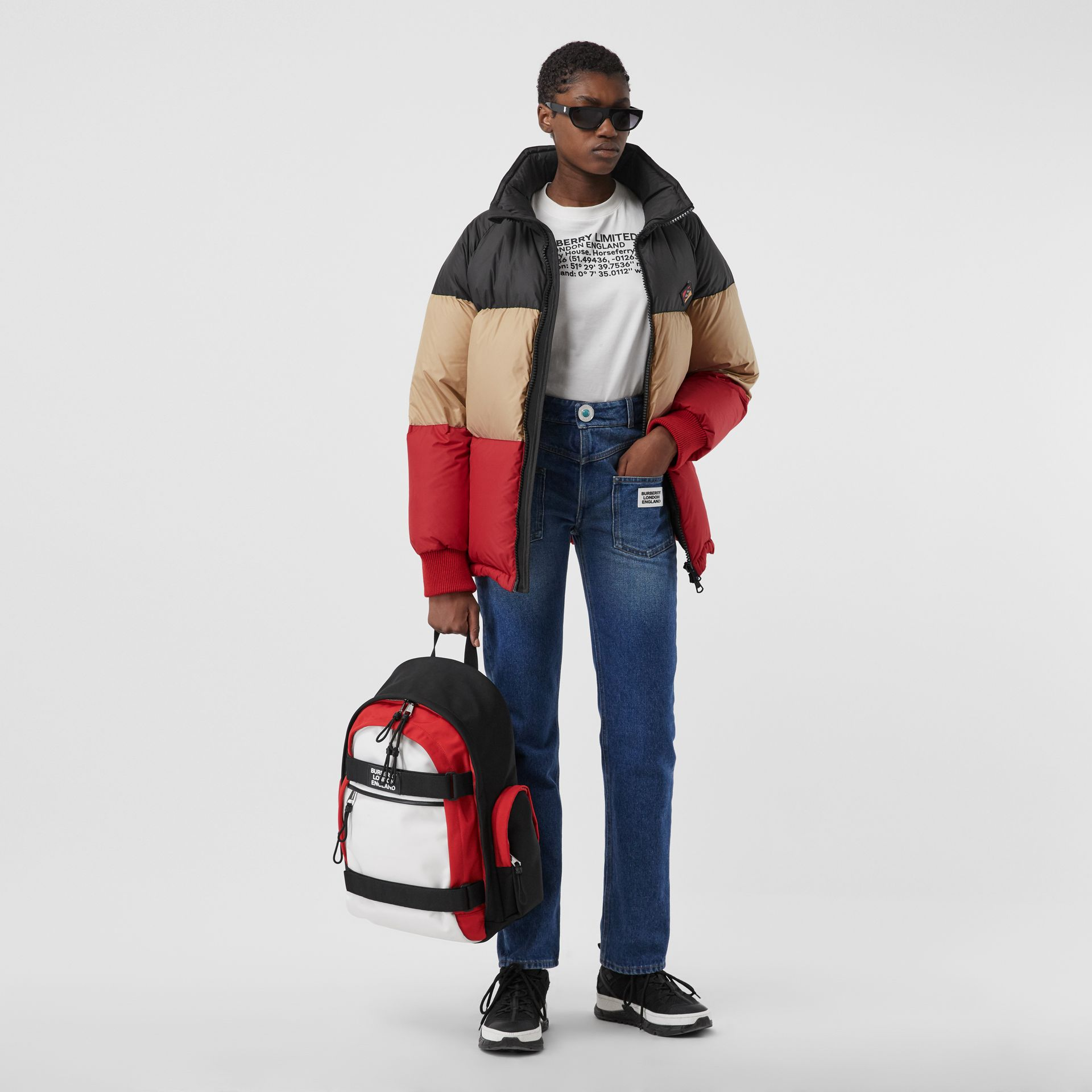 Large Colour Block Nevis Backpack in White/red/black | Burberry - gallery image 6