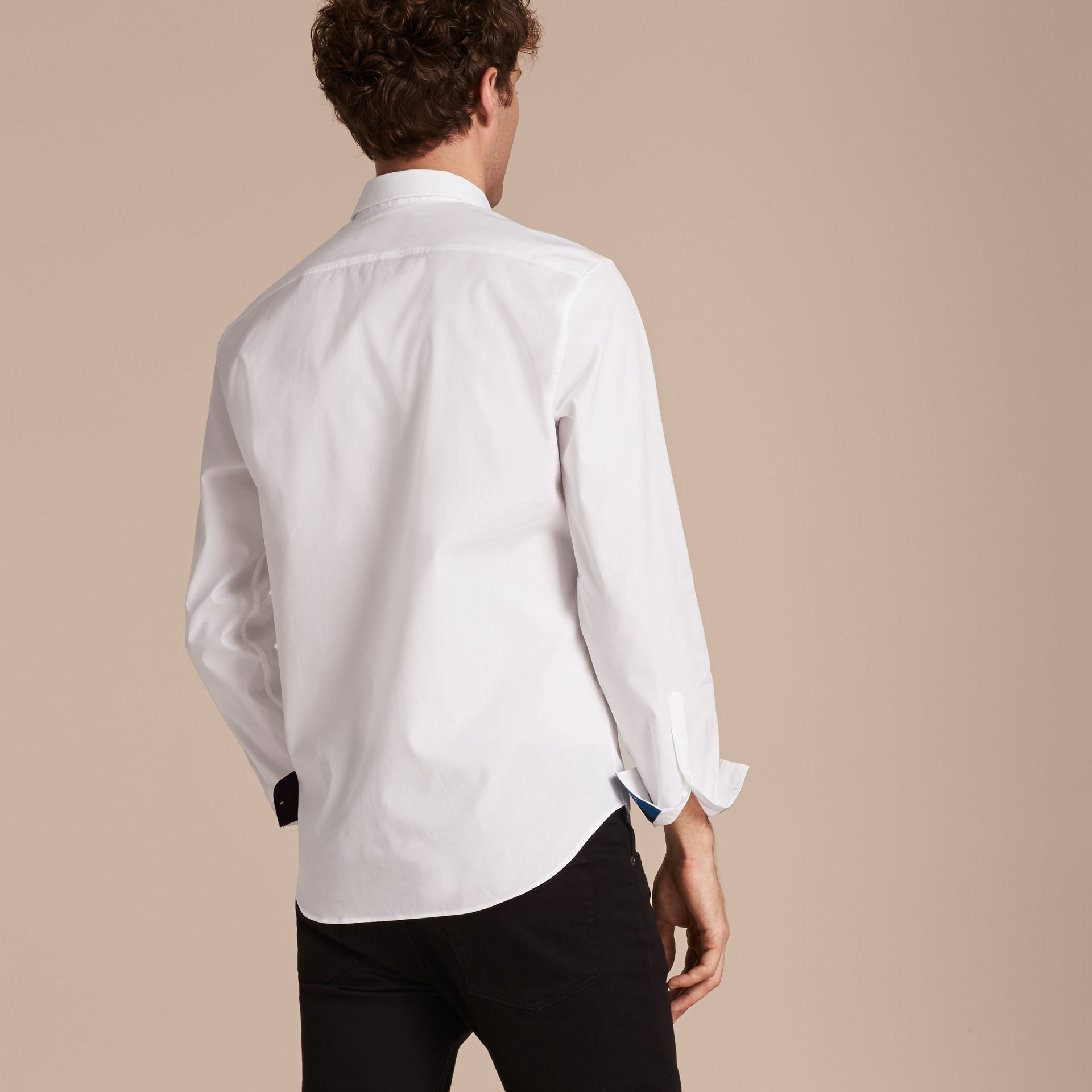 Check Detail Stretch Cotton Shirt White - gallery image 3