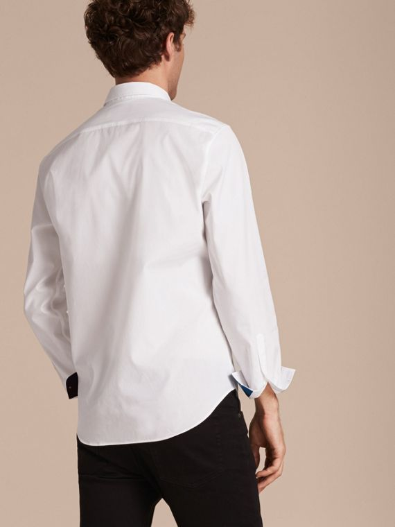 Check Detail Stretch Cotton Shirt White - cell image 2