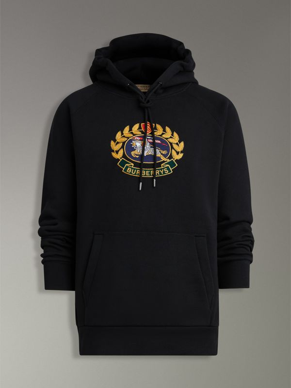 Embroidered Archive Logo Jersey Hoodie in Black - Men | Burberry United Kingdom - cell image 3