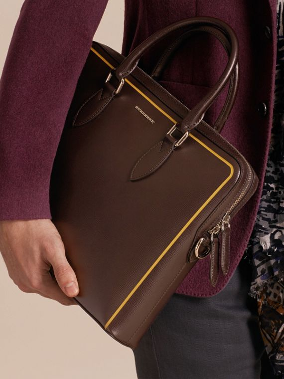Sac The Barrow fin en cuir London avec bordure contrastante (Poivre) - Homme | Burberry - cell image 2