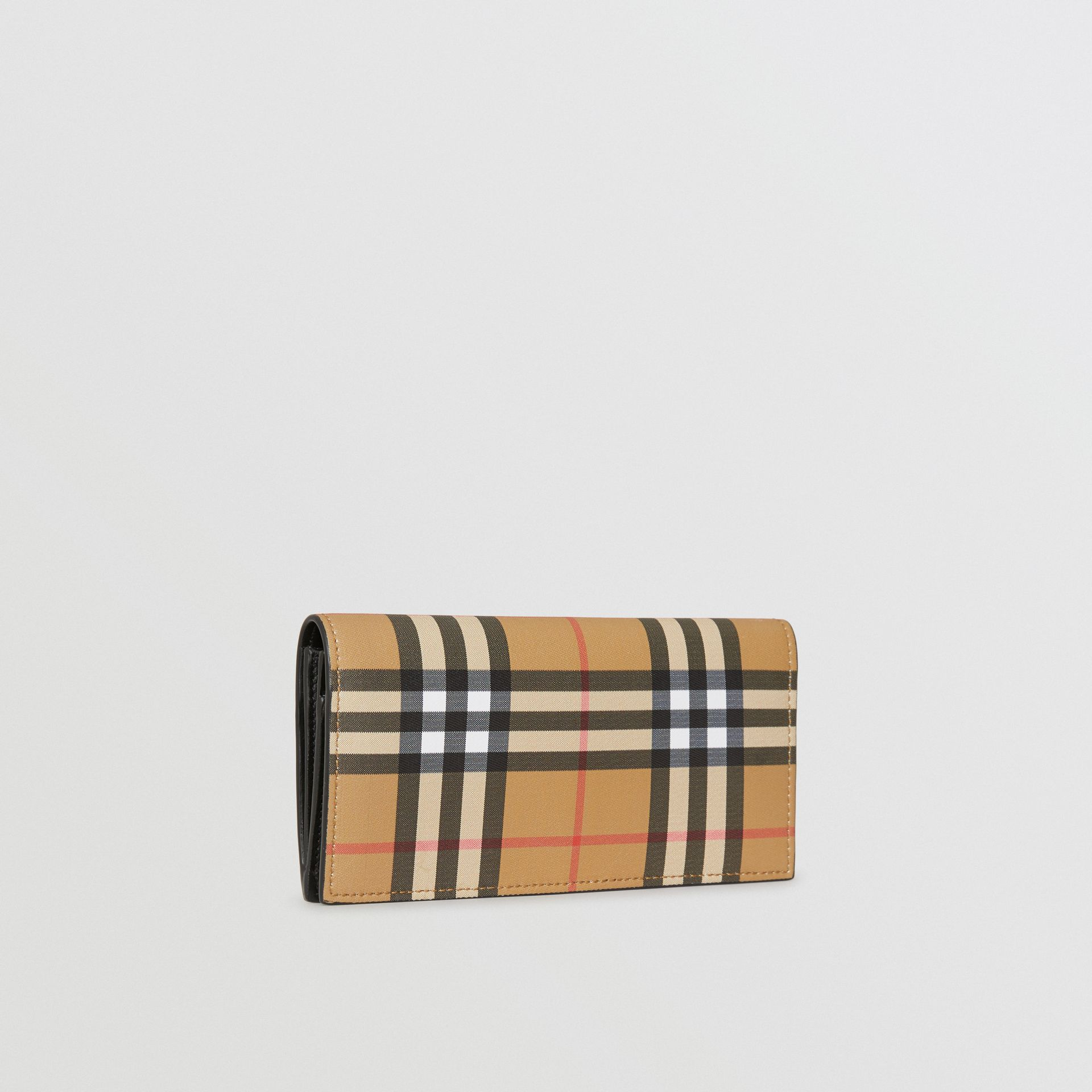 Vintage Check and Leather Continental Wallet in Antique Yellow/black - Men | Burberry Canada - gallery image 4