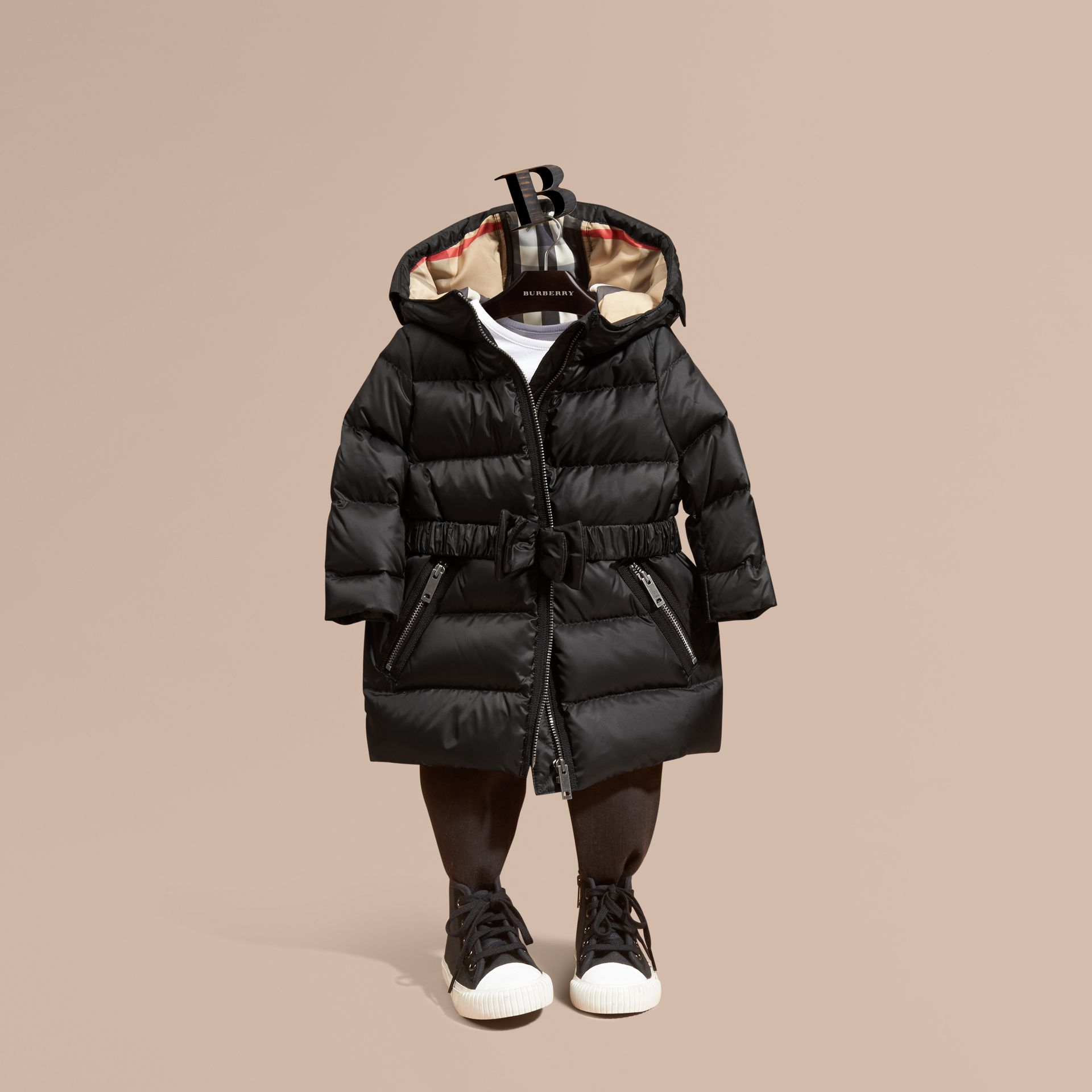 Black Down-filled Hooded Coat with Bow Detail Black - gallery image 1