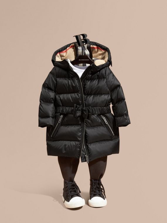 Down-filled Hooded Coat with Bow Detail Black
