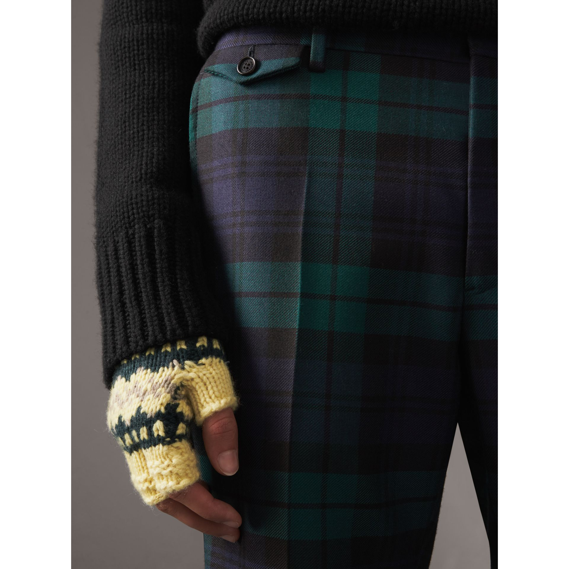 Tartan Wool Tailored Trousers in Navy - Men | Burberry Canada - gallery image 1