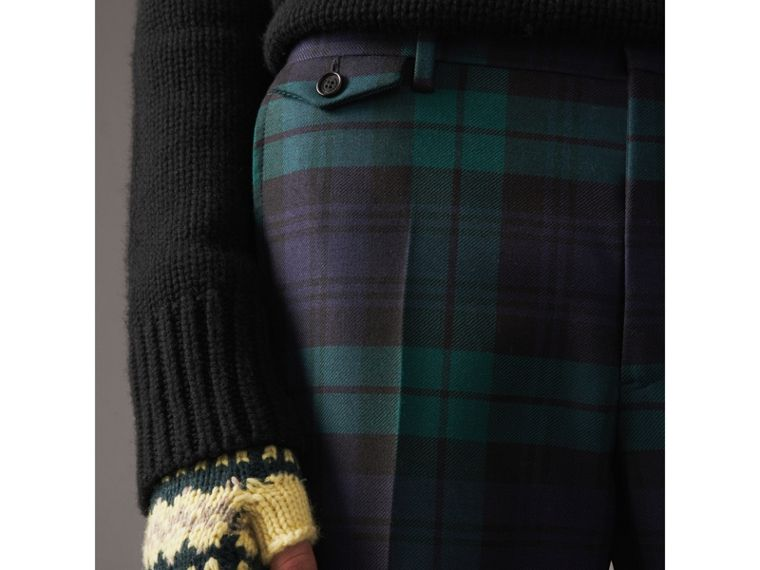 Tartan Wool Tailored Trousers in Navy - Men | Burberry United Kingdom - cell image 1