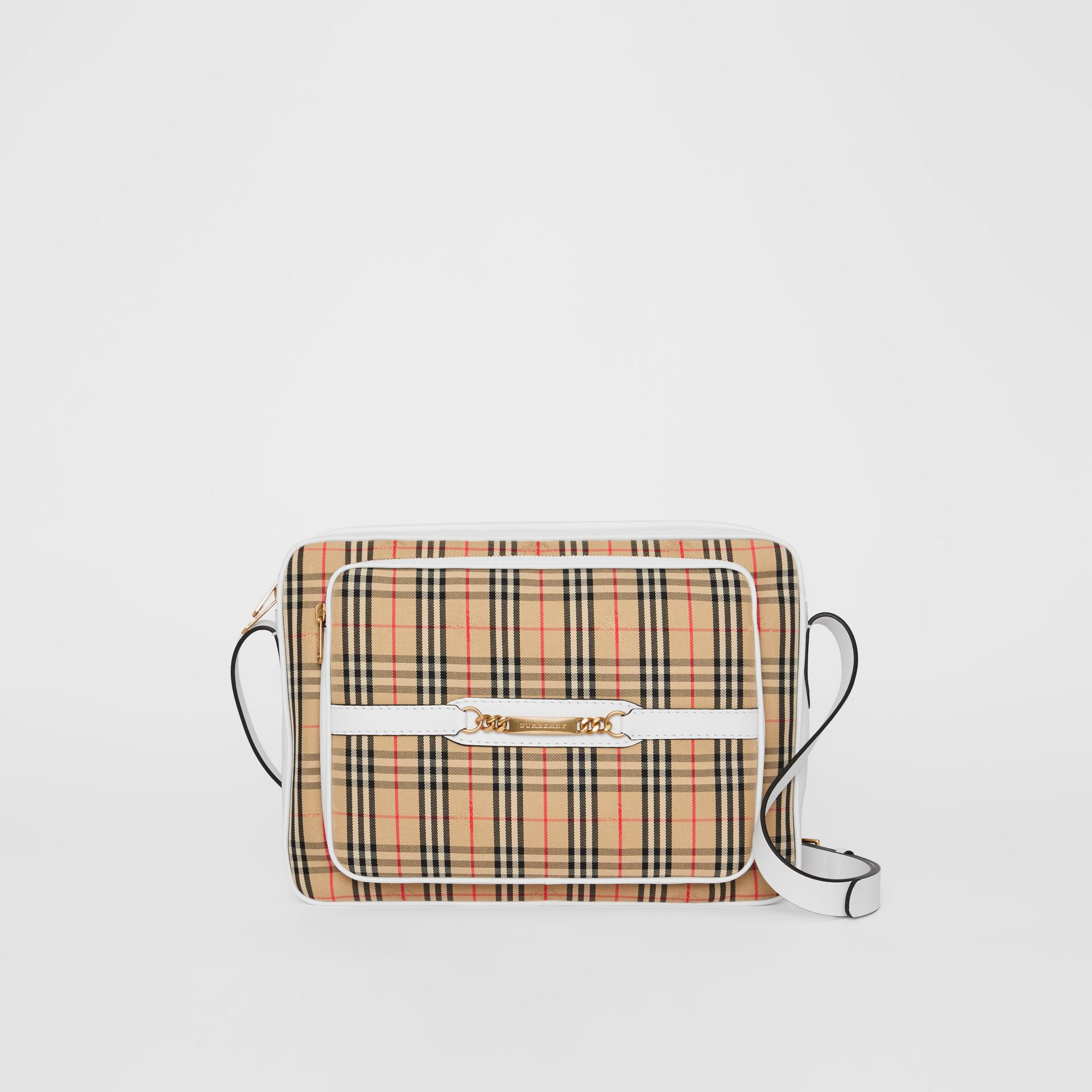The Large 1983 Check Link Camera Bag in Chalk White - Men | Burberry - gallery image 0