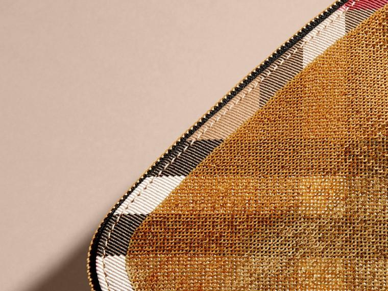 Dorado/negro Neceser grande en lentejuelas y House Checks con cremallera superior Dorado/negro - cell image 1