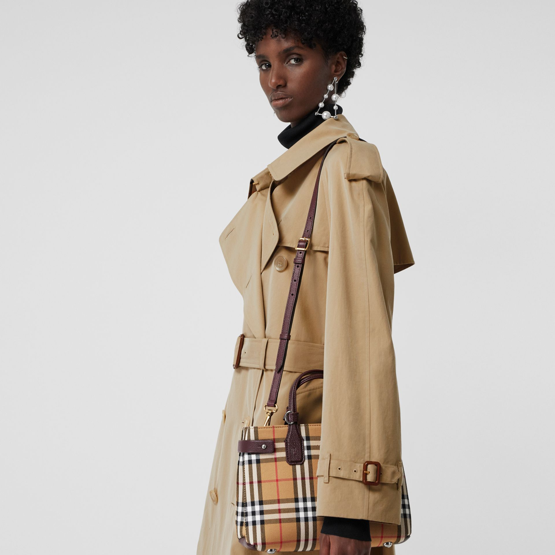 The Small Banner in Vintage Check and Leather in Deep Claret - Women | Burberry - gallery image 3