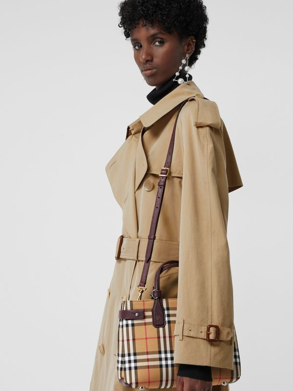 The Small Banner in Vintage Check and Leather in Deep Claret - Women | Burberry Singapore - cell image 3
