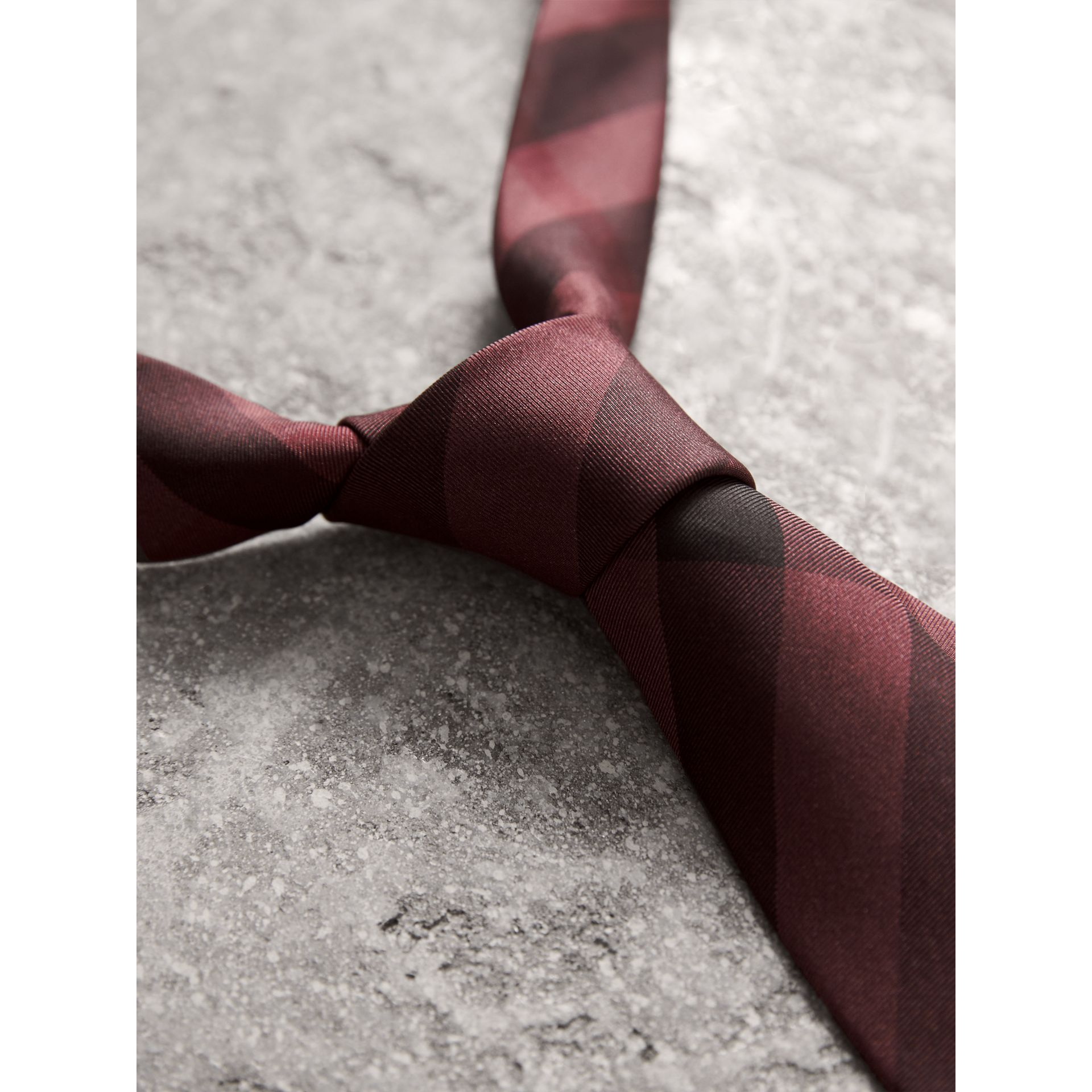Slim Cut Check Silk Tie in Plum Pink - Men | Burberry - gallery image 2