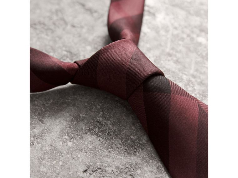 Slim Cut Check Silk Tie in Plum Pink - Men | Burberry - cell image 1