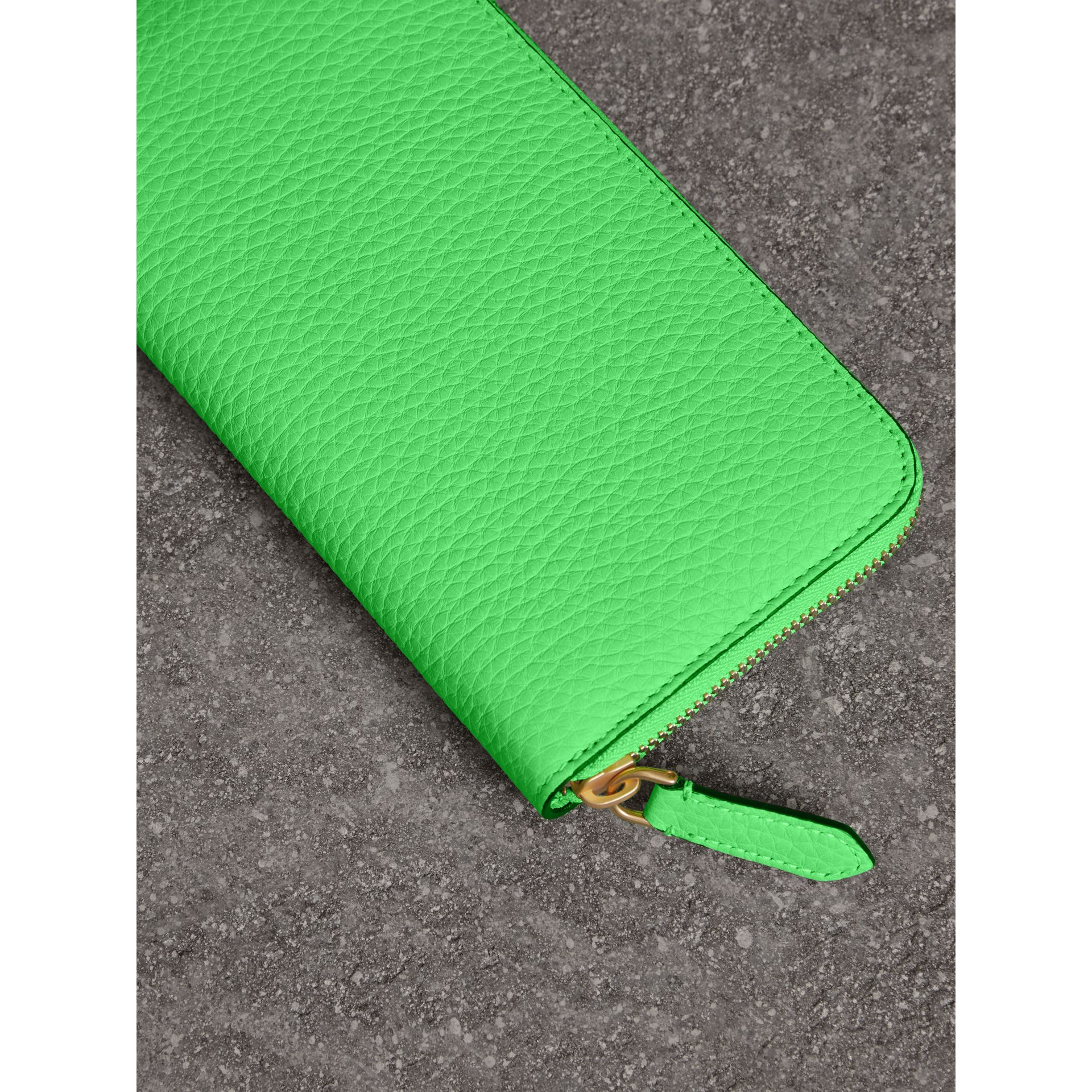 Embossed Leather Ziparound Wallet in Bright Green - Women | Burberry - gallery image 2