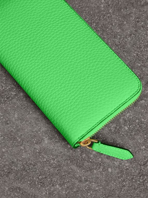 Embossed Leather Ziparound Wallet in Bright Green - Women | Burberry - cell image 2