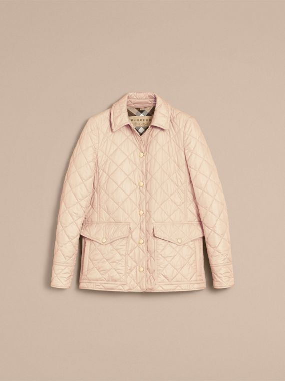 Check Detail Diamond Quilted Jacket in Dark Stone - Women | Burberry - cell image 3
