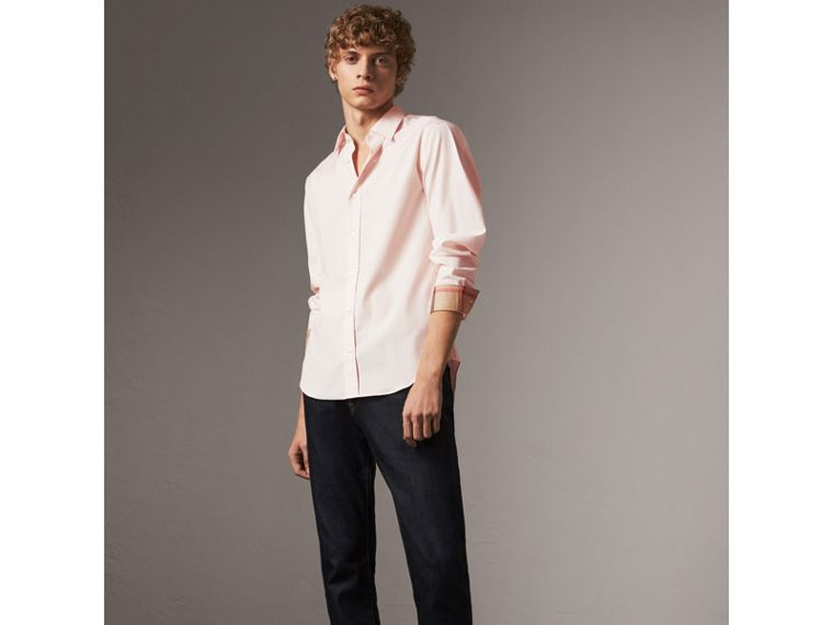 Check Detail Stretch Cotton Poplin Shirt in Pale Pink - Men | Burberry Australia - cell image 4