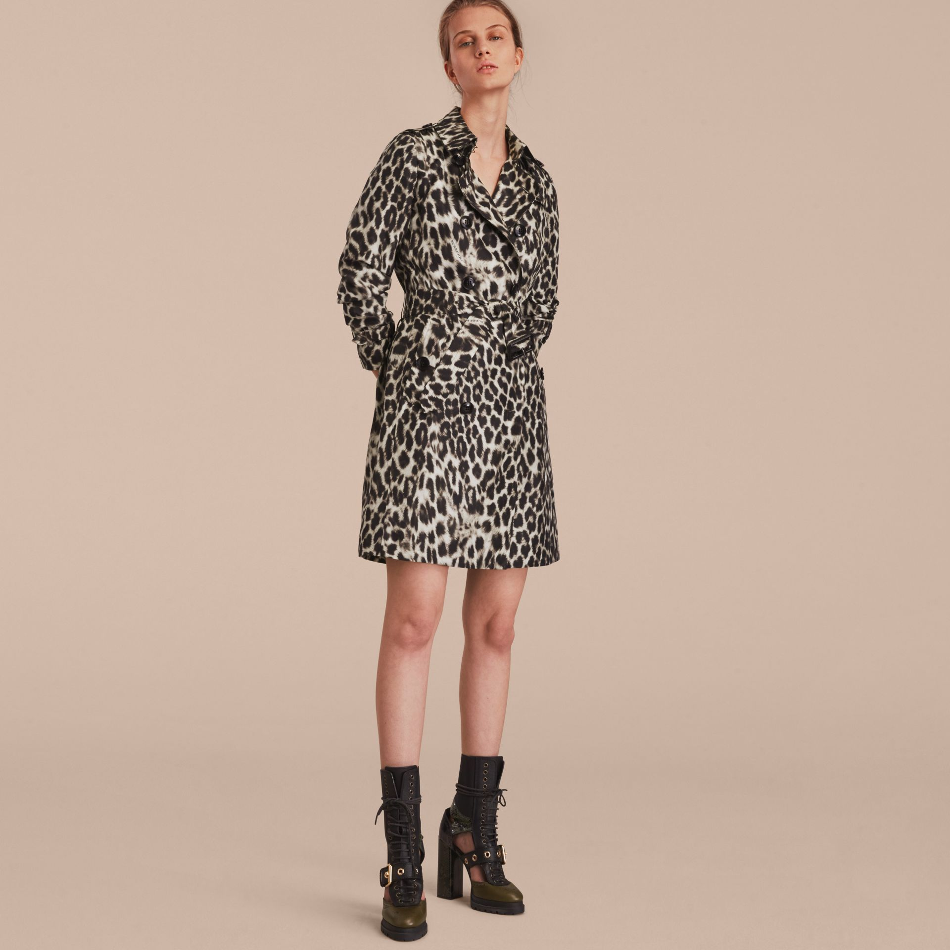 Animal Print Silk Trench Coat - gallery image 6