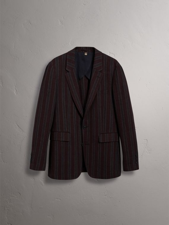 Soho Fit Striped Linen Tailored Jacket in Burgundy - Men | Burberry United States - cell image 3