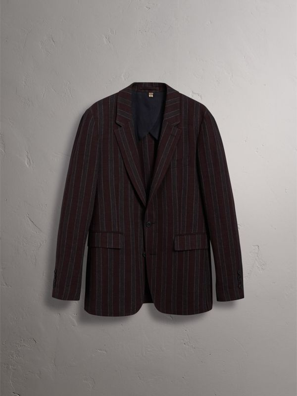 Soho Fit Striped Linen Tailored Jacket in Burgundy - Men | Burberry Singapore - cell image 3