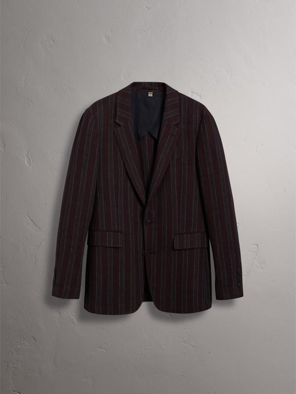 Soho Fit Striped Linen Tailored Jacket in Burgundy - Men | Burberry Australia - cell image 3