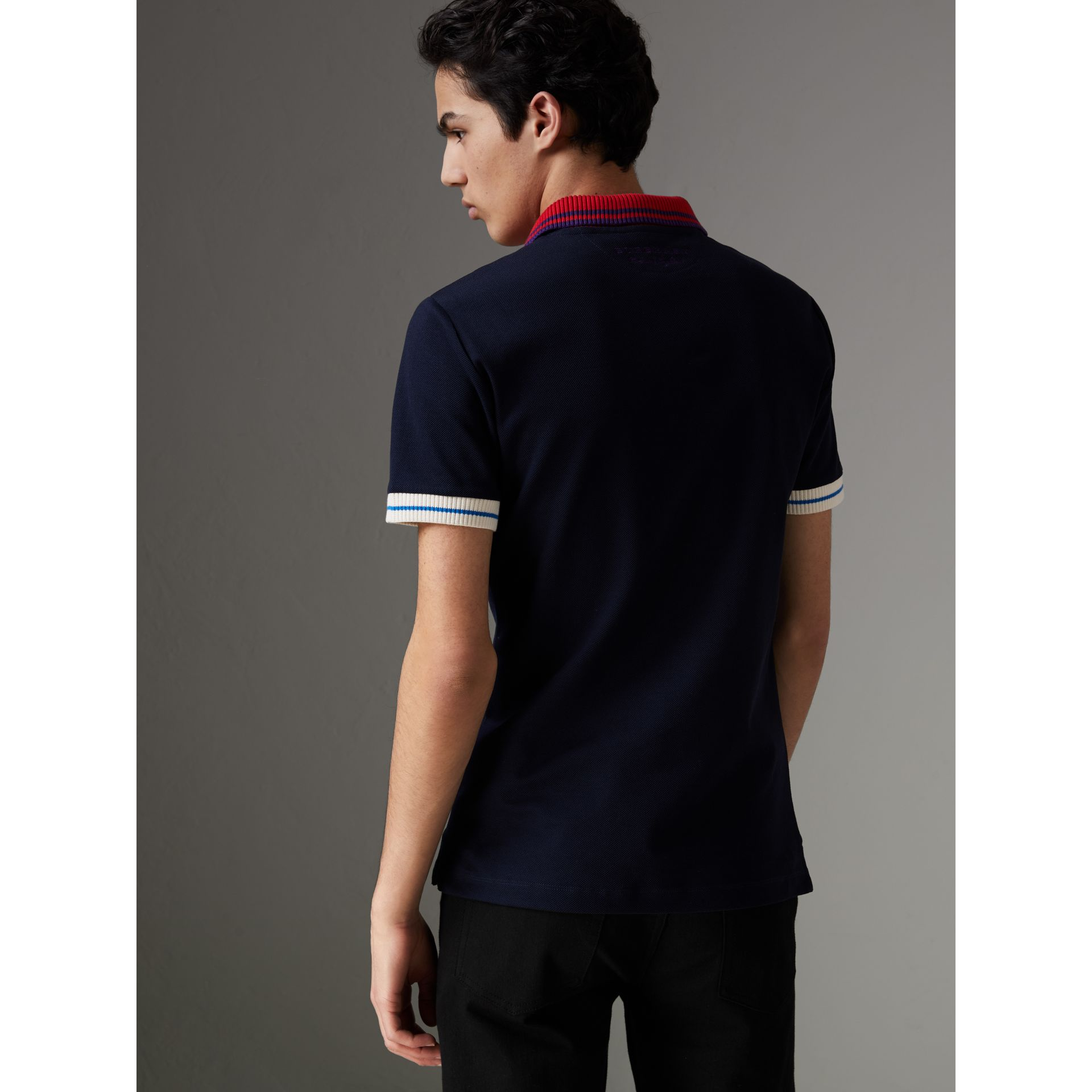 Two-tone Stripe Knitted Detail Cotton Polo Shirt in Navy - Men | Burberry Australia - gallery image 2