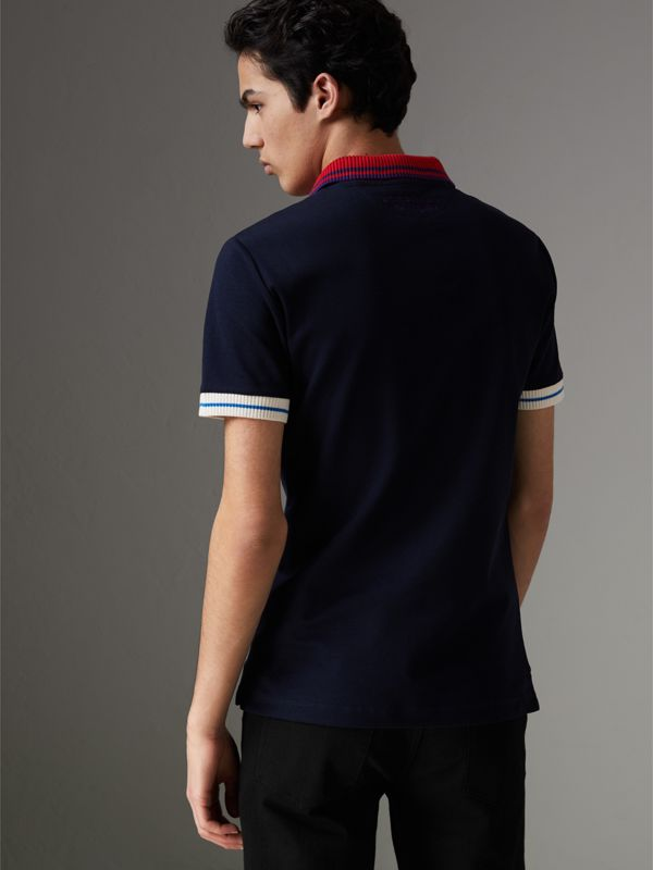 Two-tone Stripe Knitted Detail Cotton Polo Shirt in Navy - Men | Burberry - cell image 2