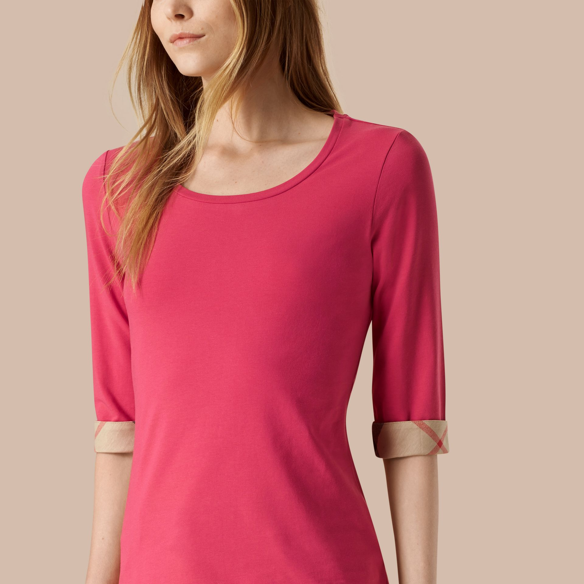 Bright rose Check Cuff Stretch-Cotton Top Bright Rose - gallery image 3