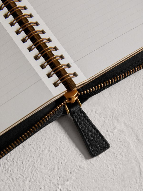 Embossed Grainy Leather Ziparound A6 Notebook Case in Black | Burberry - cell image 3