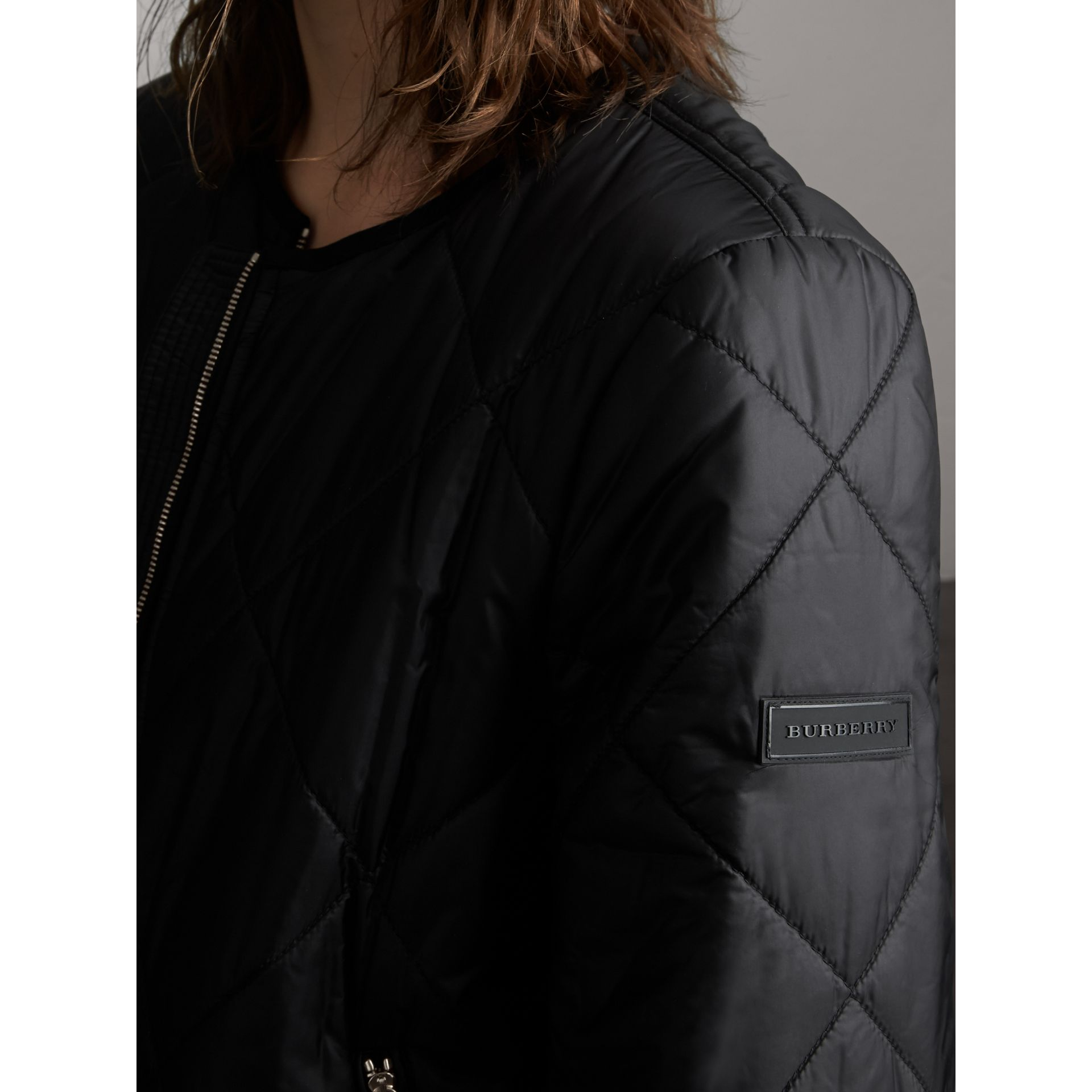 Collarless Diamond Quilted Lightweight Jacket in Black - Women | Burberry - gallery image 6