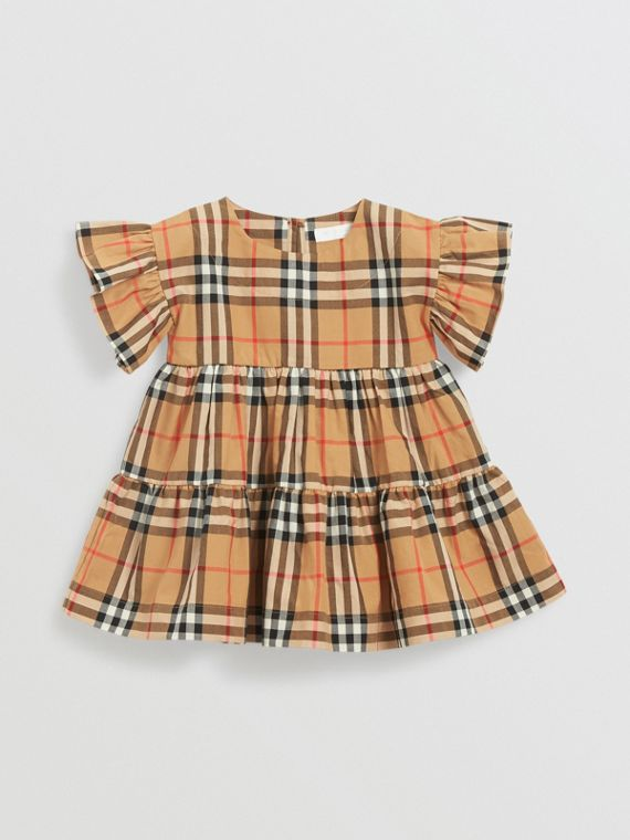 Ruffle Detail Vintage Check Dress with Bloomers in Antique Yellow