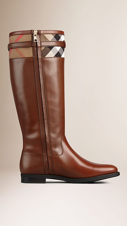 Dark tan House Check Detail Riding Boots - Image 3