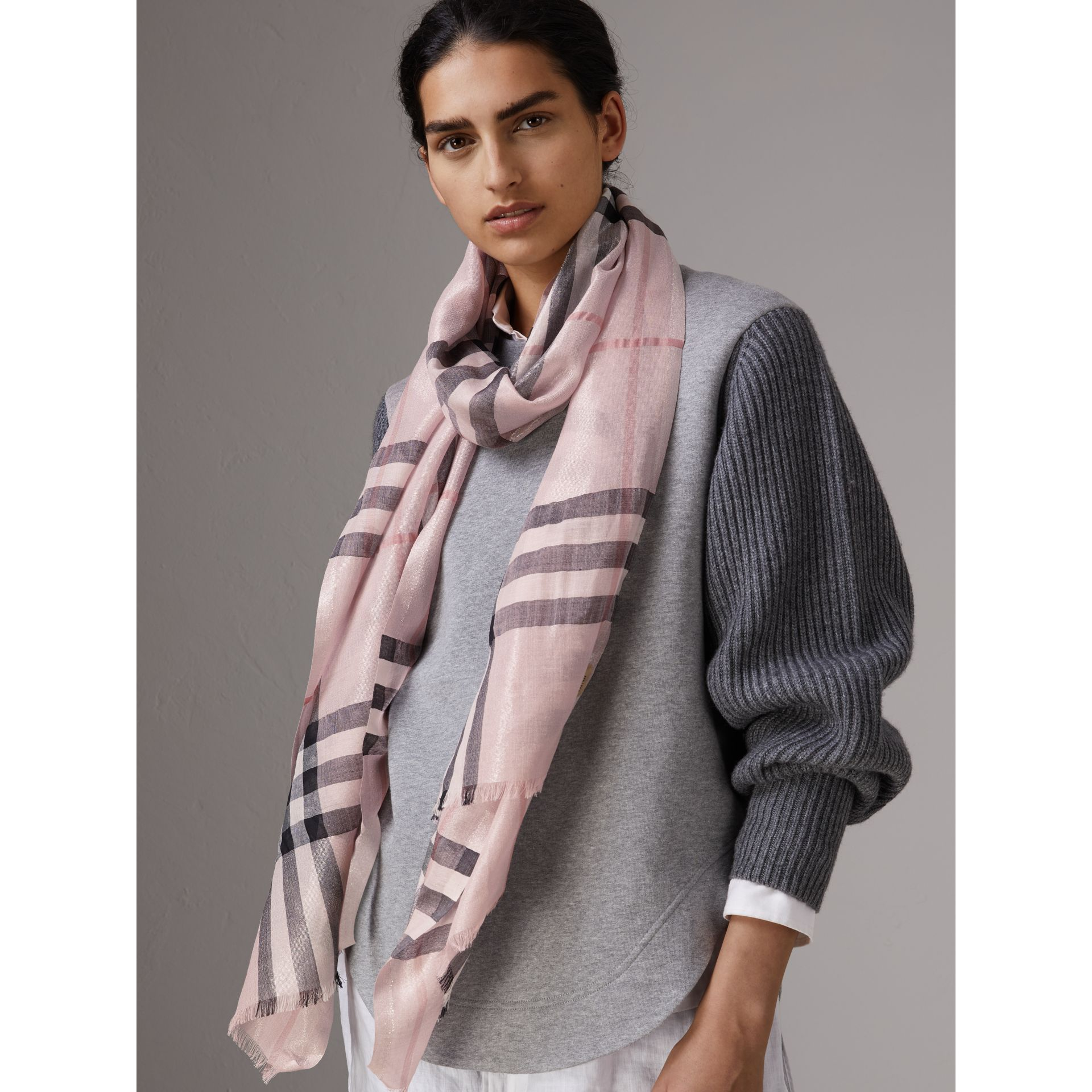 Metallic Check Silk and Wool Scarf in Ash Rose/silver - Women | Burberry Canada - gallery image 3
