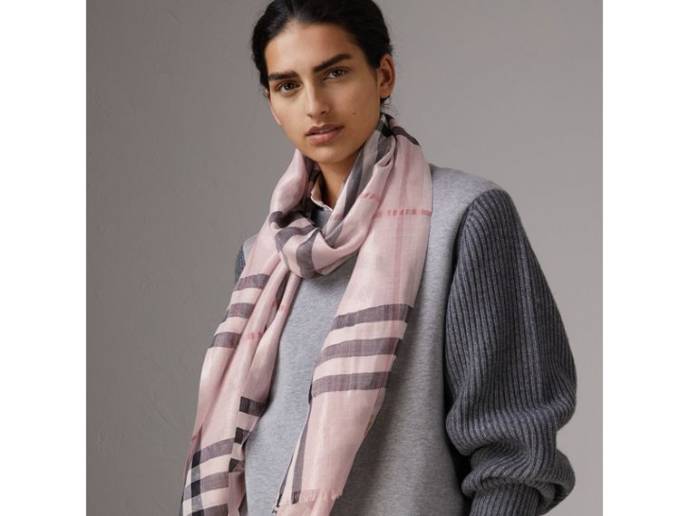 Metallic Check Silk and Wool Scarf in Ash Rose/silver - Women | Burberry Canada - cell image 2