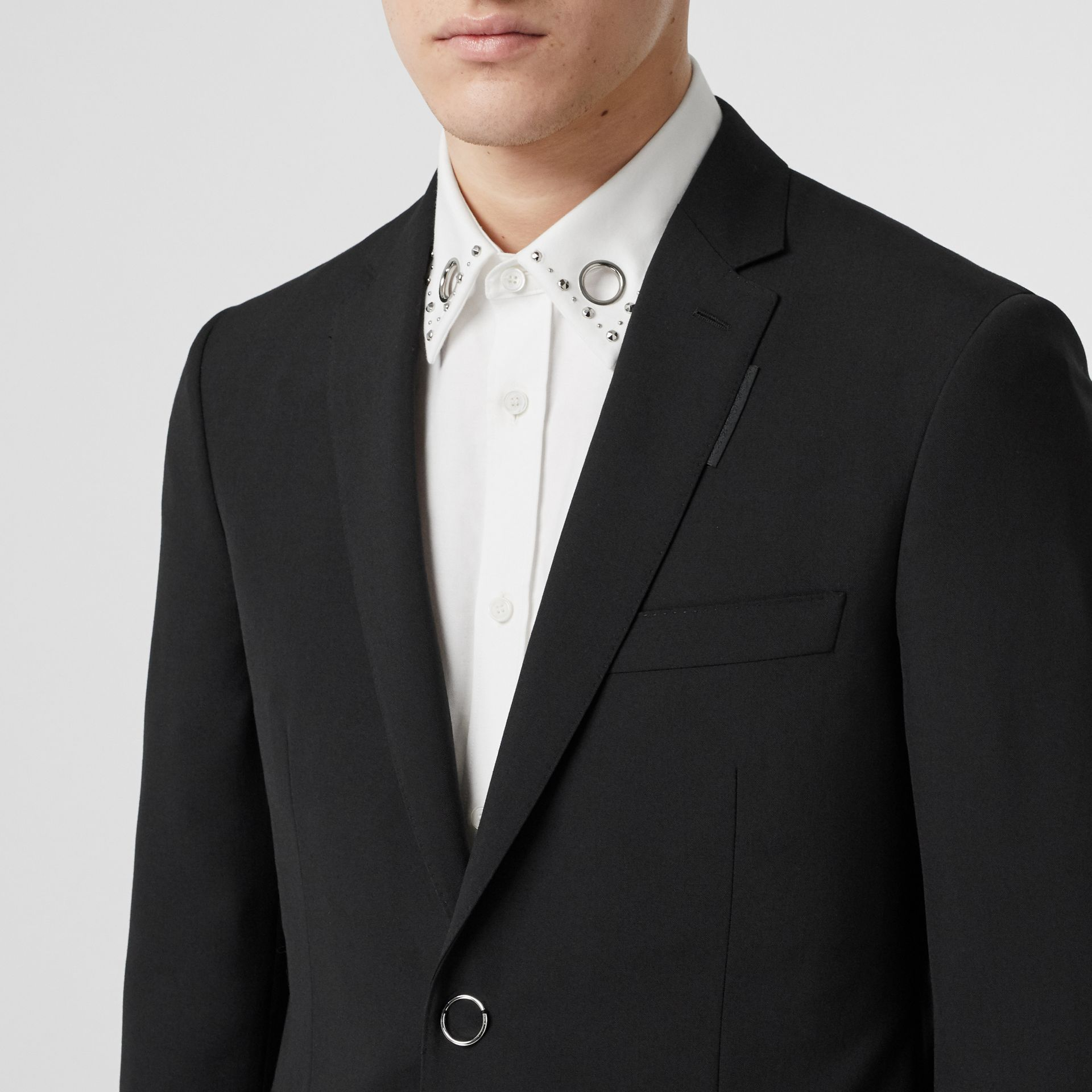 Slim Fit Press-stud Tumbled Wool Tailored Jacket in Black - Men | Burberry - gallery image 1