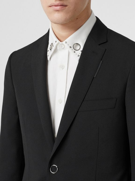 Slim Fit Press-stud Tumbled Wool Tailored Jacket in Black - Men | Burberry - cell image 1