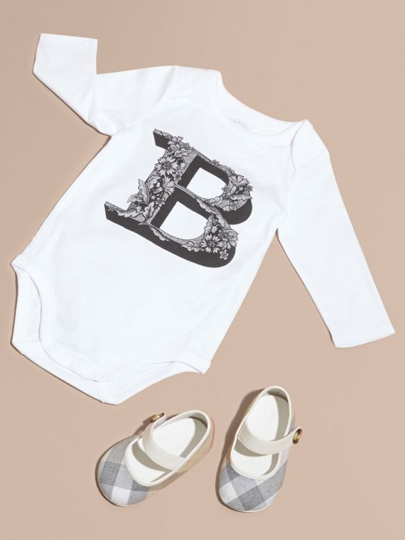 Decorative Letter Motif Long-sleeved Cotton Bodysuit