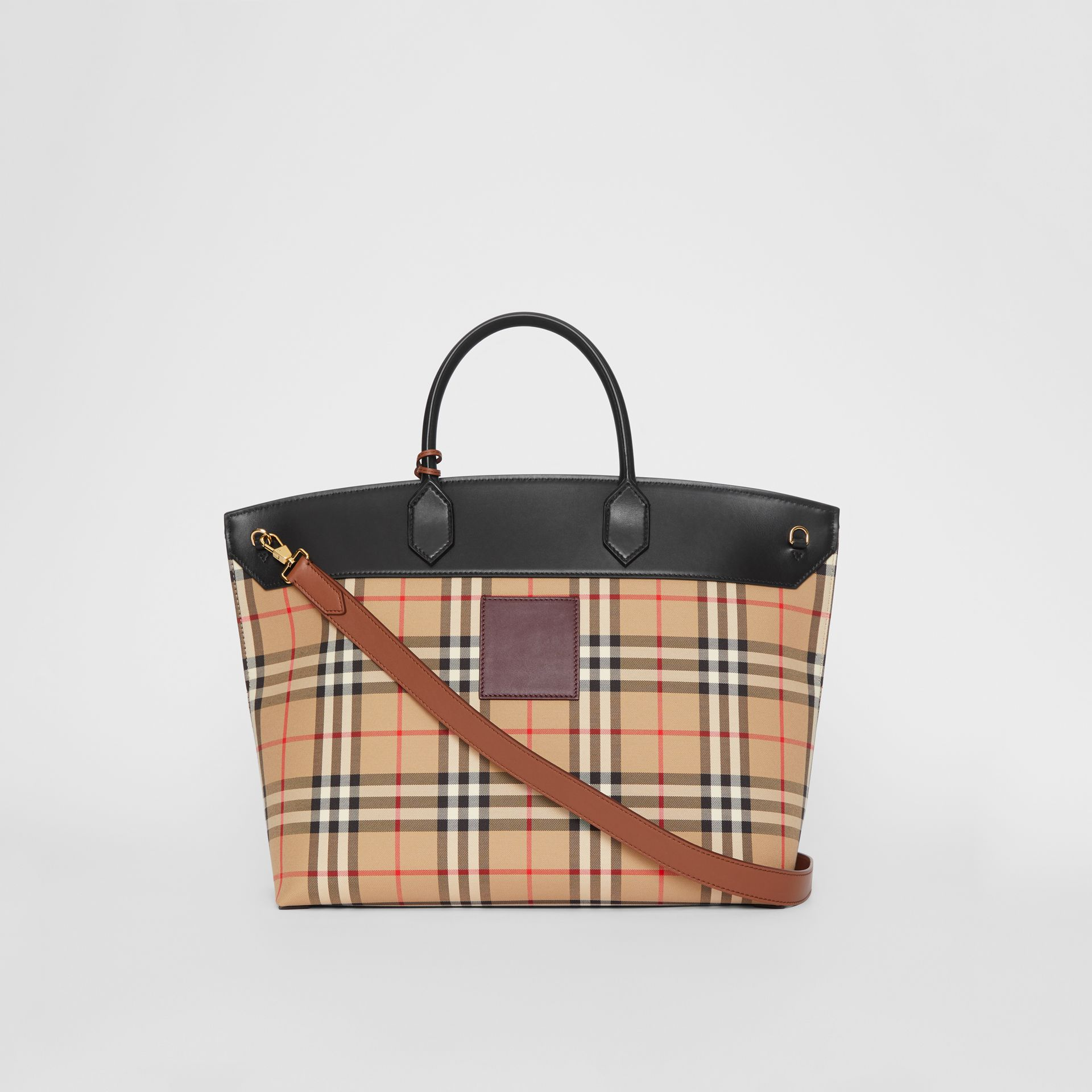 Vintage Check and Leather Society Top Handle Bag in Archive Beige - Women | Burberry - gallery image 7