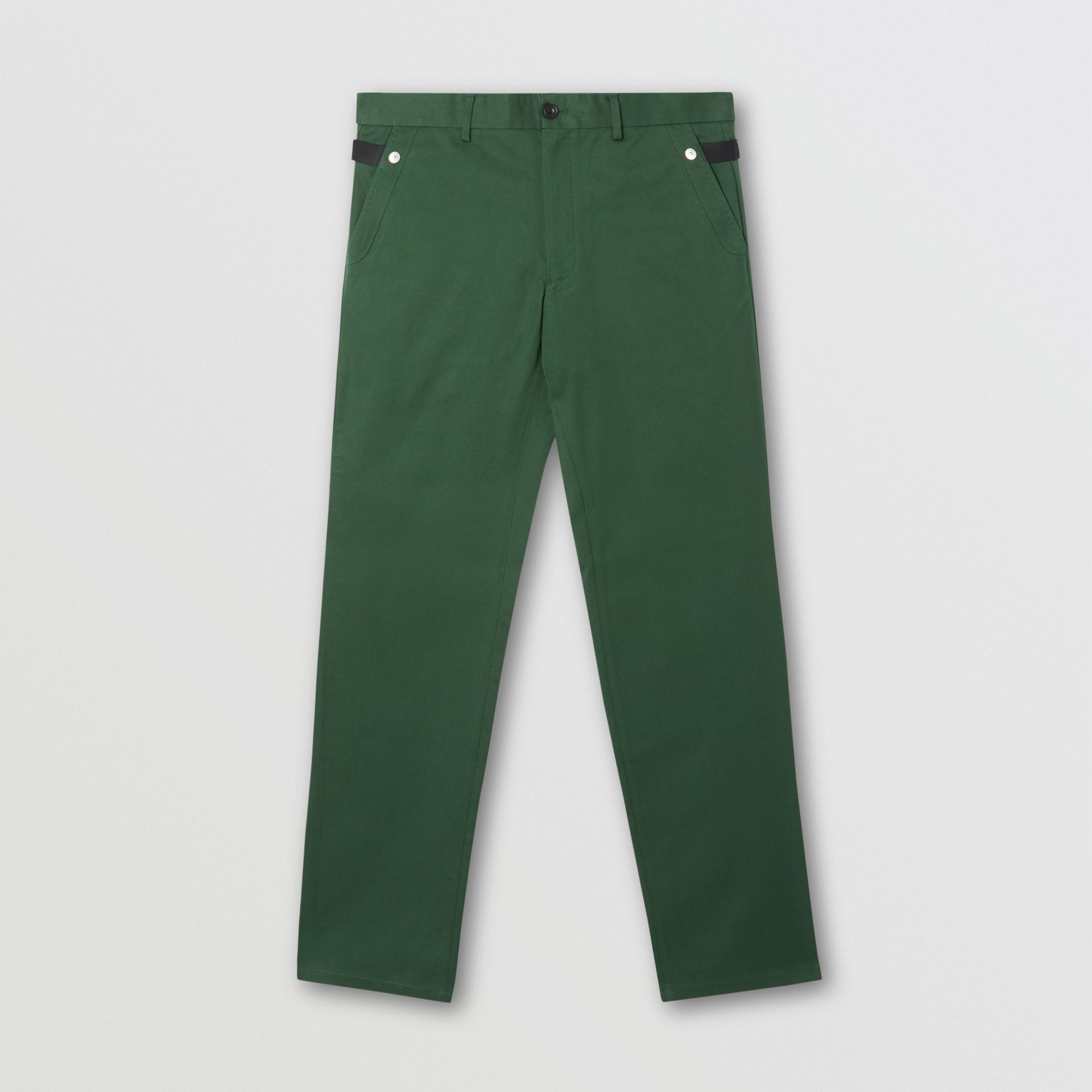 Classic Fit Cotton Chinos in Dark Pine Green - Men | Burberry - gallery image 3