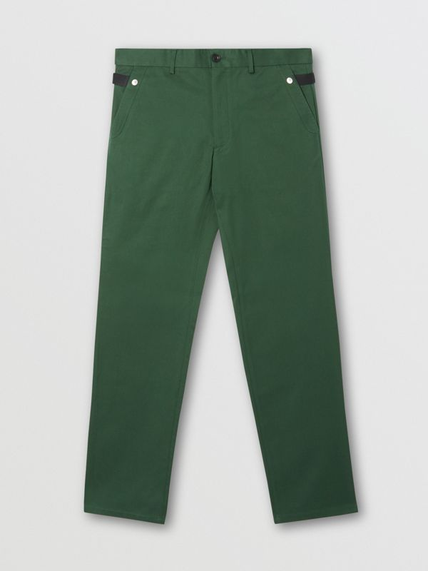 Classic Fit Cotton Chinos in Dark Pine Green - Men | Burberry - cell image 3
