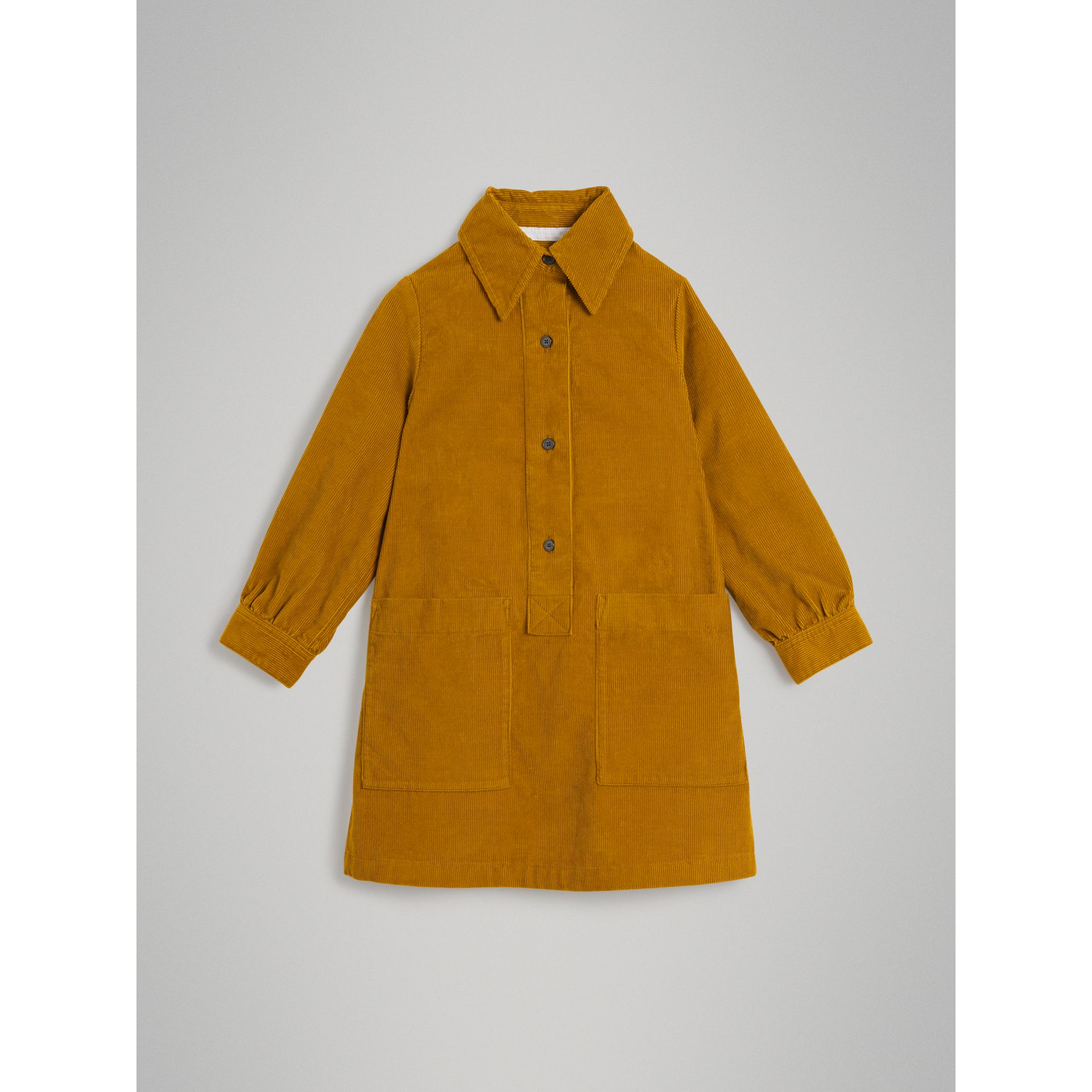 Corduroy Shirt Dress in Ochre - Girl | Burberry - gallery image 0
