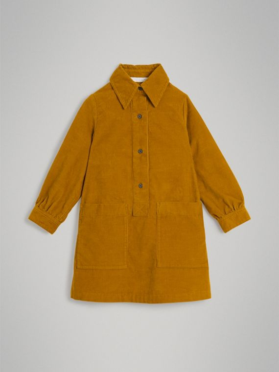 Corduroy Shirt Dress in Ochre