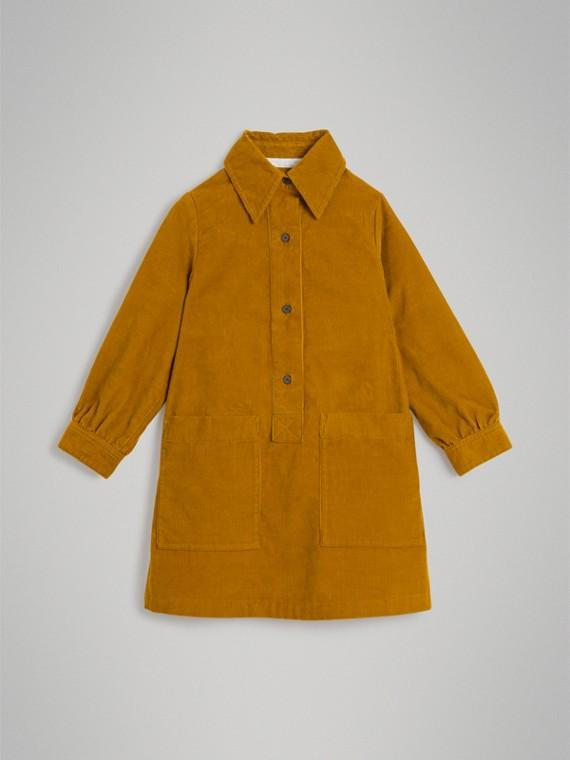 Vestido estilo camisa em veludo cotelê (Ocre)
