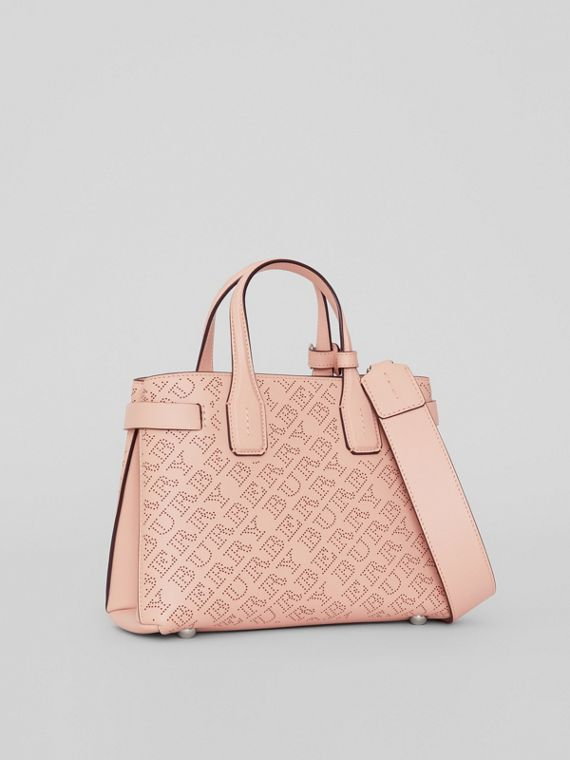 The Small Banner in Perforated Logo Leather in Pale Fawn Pink