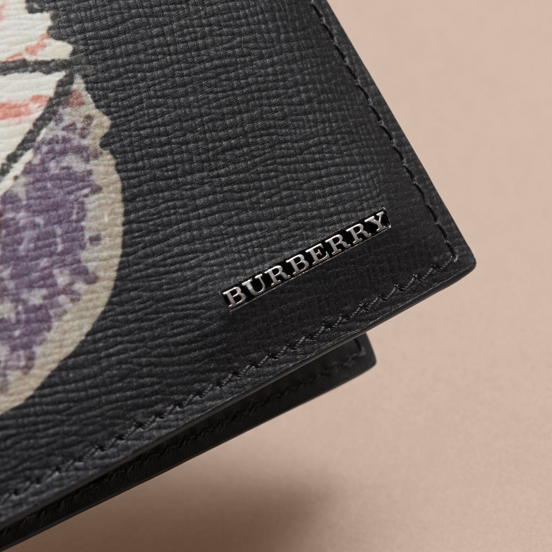 Pallas Heads Print Leather International Bifold Wallet in Black - Men | Burberry - gallery image 2