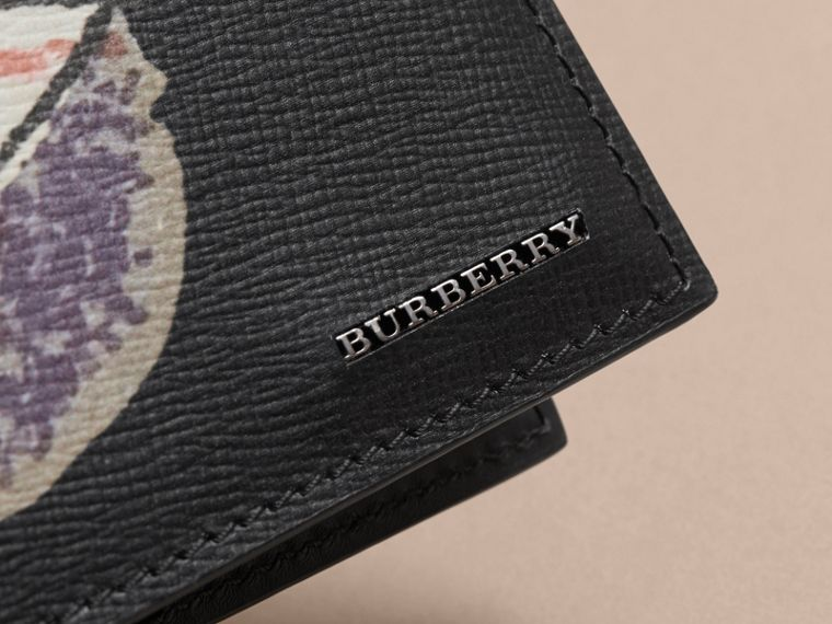 Pallas Heads Print Leather International Bifold Wallet in Black - Men | Burberry - cell image 1