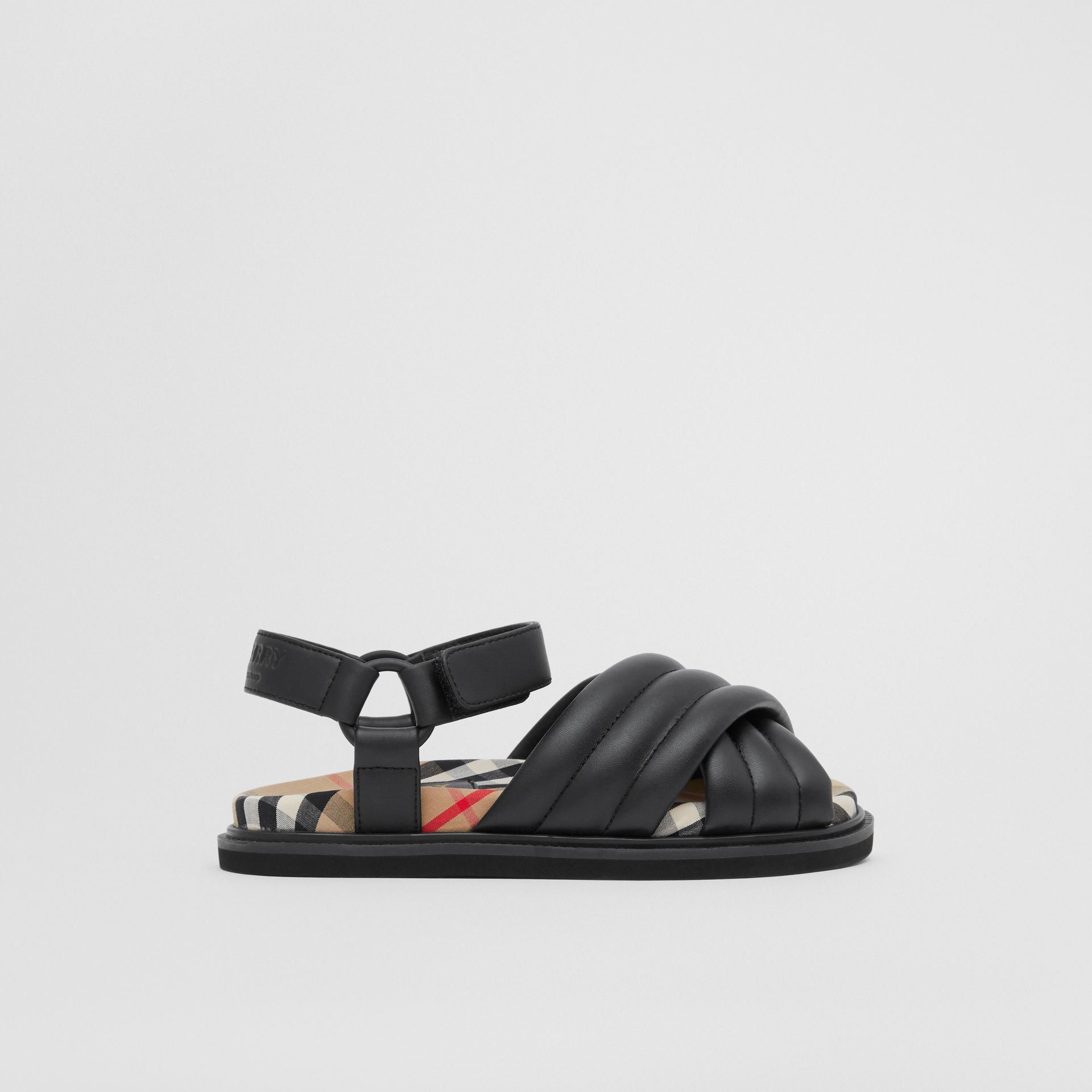 Vintage Check-lined Quilted Sandals in Black - Children | Burberry United Kingdom - gallery image 3