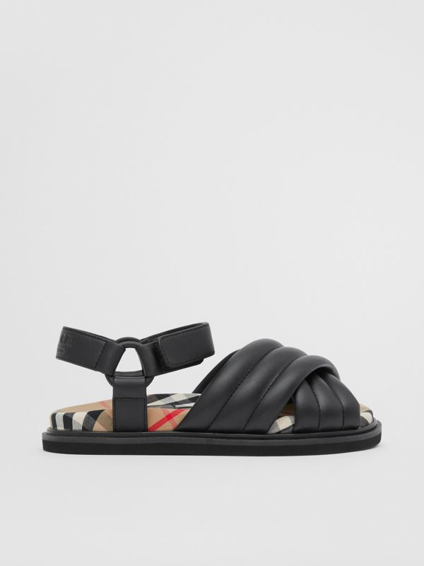 Vintage Check-lined Quilted Sandals in Black - Children | Burberry - cell image 3